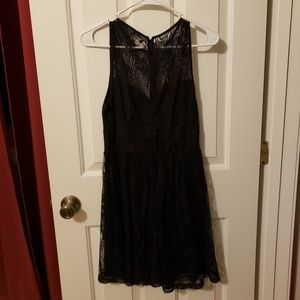 Express black fit and flare lace dress